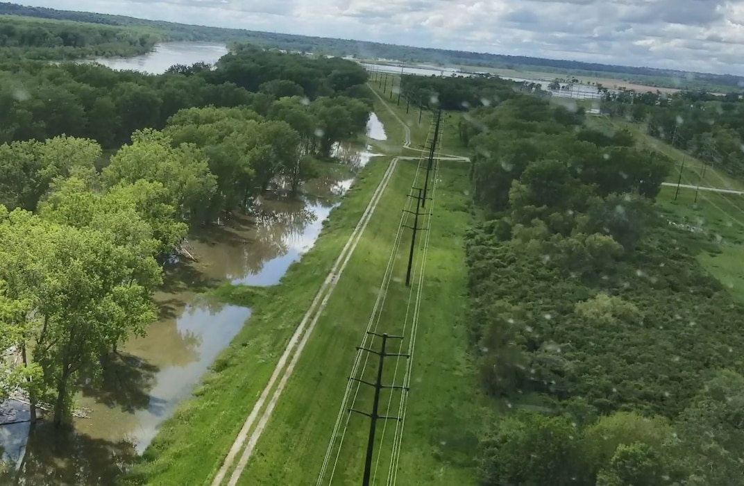 Missouri River high water against the L-624 levee system. Photo captured south of Lake Manawa on May 29, 2019.