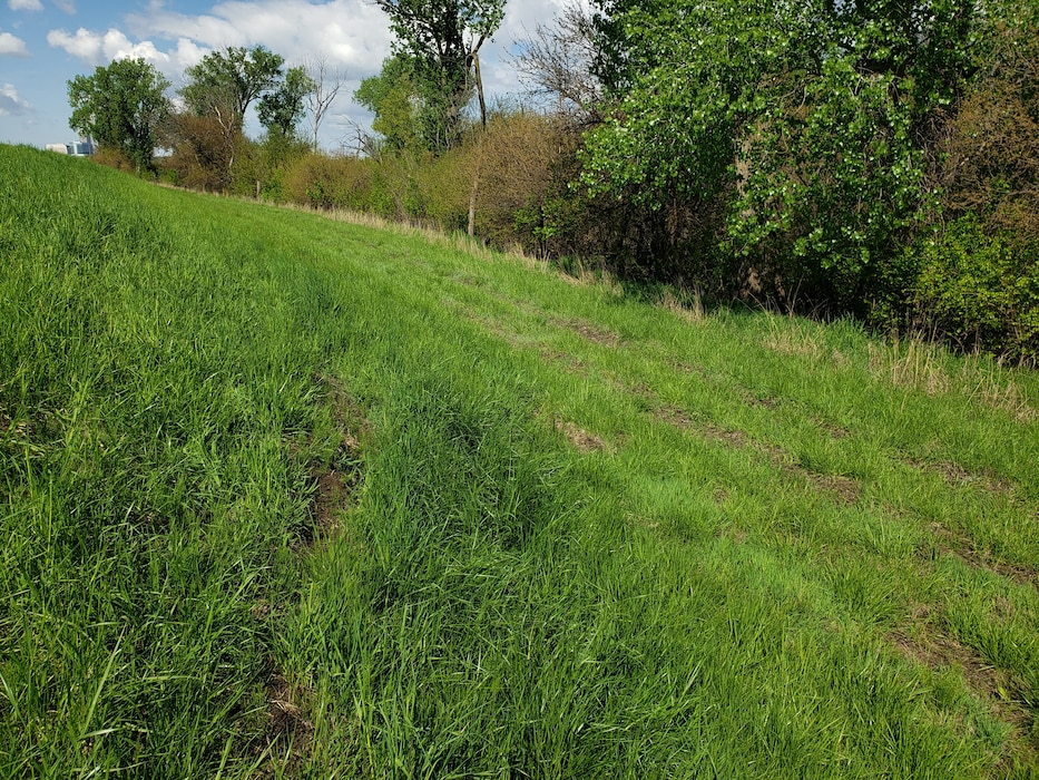 Levee L627 erosion damage identified by the USACE Omaha District team during their initial damage assessment on May 10, 2019.