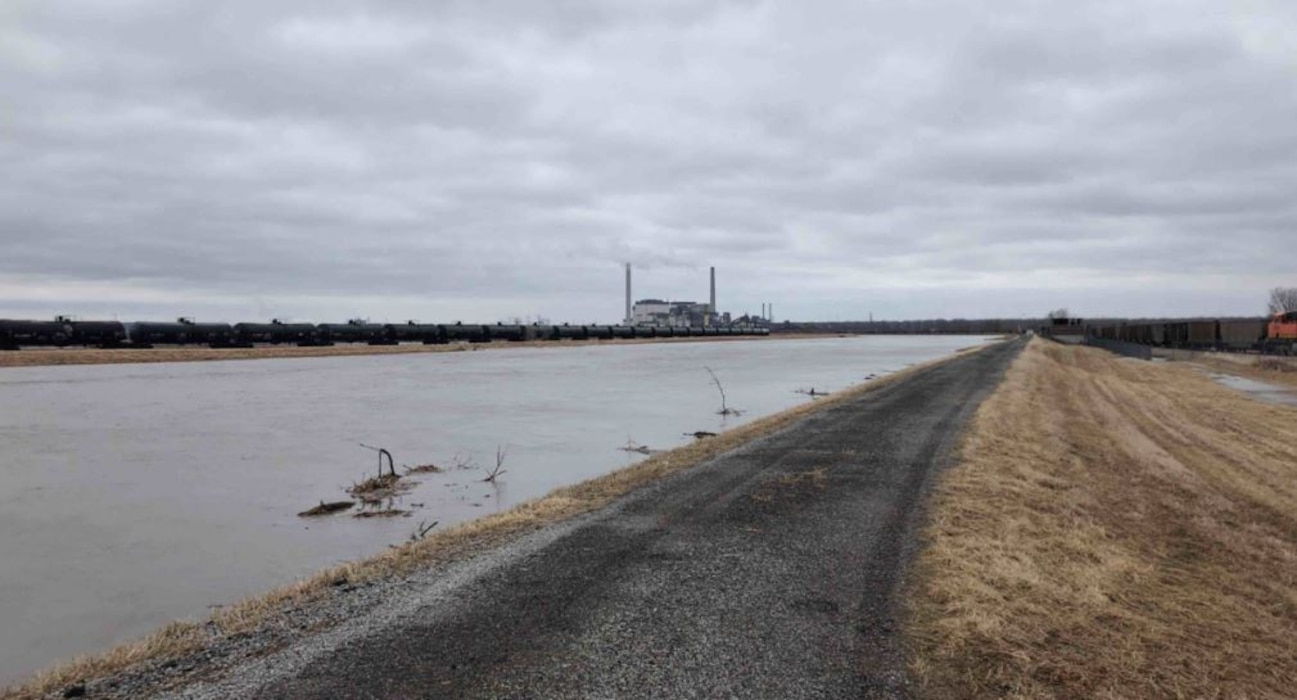 High water in Mosquito Creek on Mar. 14, 2019.  Photo taken east of Lake Manawa looking south towards the Missouri River.