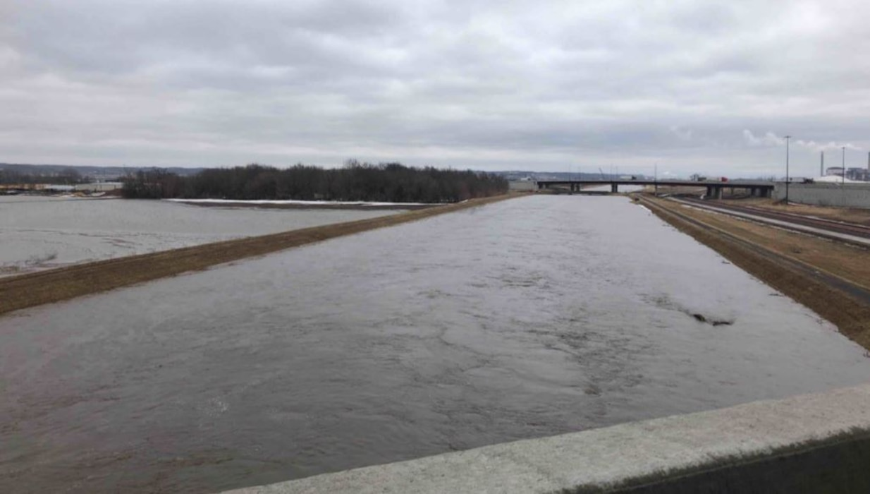 High water in Mosquito Creek on Mar. 14, 2019. Photo taken from the Hwy 92 bridge looking southeast towards the I-29 in Iowa.