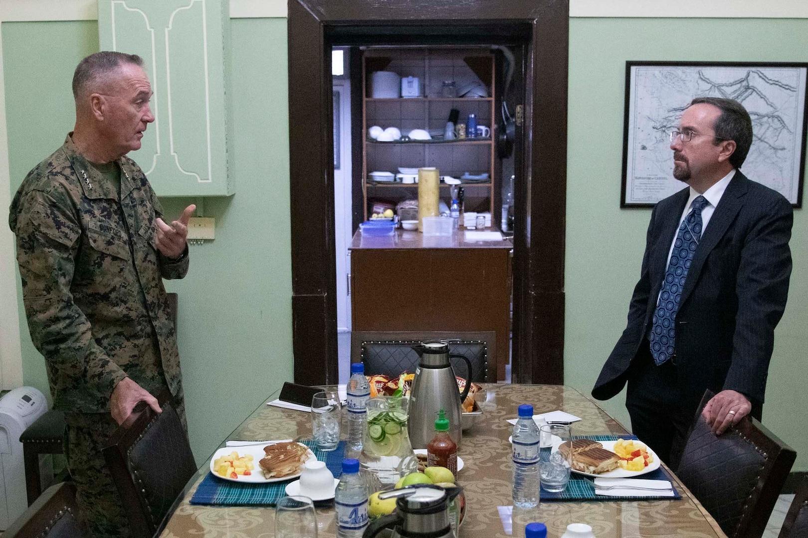 General speaks with civilian.