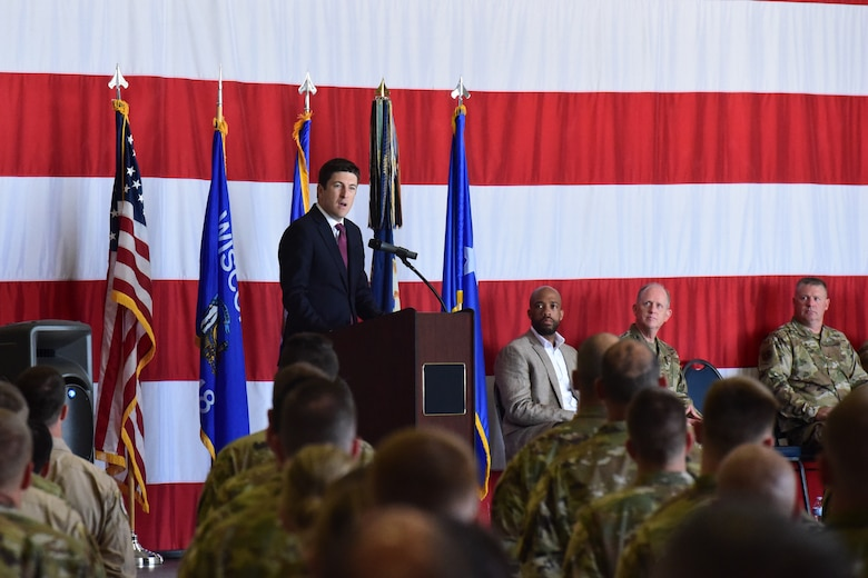 U.S. Representative Bryan Steil, 1st District of Wisconsin, speaks to deploying members of the 115th FIghter Wing at a send off ceremony at Truax Field, Madison, Wis. on July 21, 2019.  The 115th Fighter Wing deployed approximately 300 personnel and a number of aircraft to Afghanistan in support of Operation Freedom Sentinel and NATO's Resolute Support. (U.S. Air National Guard photo by Staff Sgt. Kyle Russell)