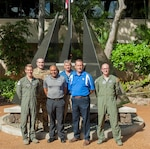 Members of the 12th Operations Support Squadron and 559th Flying Training Squadron from Joint Base San Antonio-Randolph pose for a group photo during a history tour at Headquarters Pacific Air Forces, Joint Base Pearl Harbor-Hickam, Hawaii, July 10, 2019. The purpose of the visit was for Air Education and Training Command members to learn more about Pacific theater operations and build and a relationship between AETC as a major command and PACAF as a combatant command.
