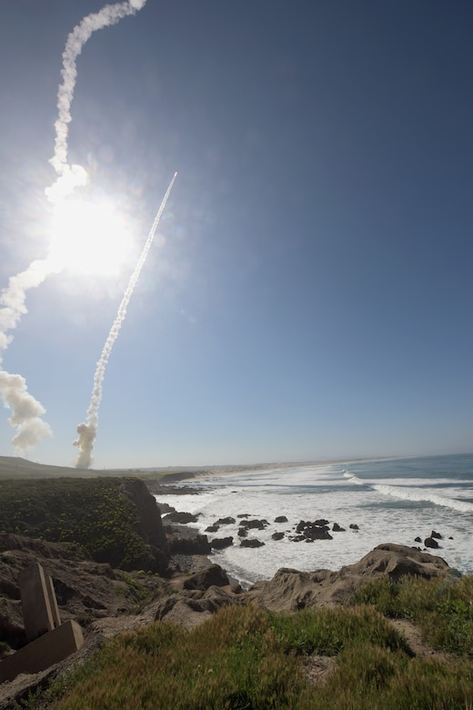 Two long-range ground-based interceptors launched from Vandenberg Air Force Base, California, March 25, 2019, in first-ever salvo engagement test of threat-representative intercontinental ballistic missile target successfully intercept target launched from Ronald Reagan Ballistic Missile Defense Test Site on Kwajalein Atoll (Defense Missile Agency/Lisa Simunaci)