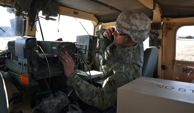 Soldiers in the field learn how to operate in a navigation warfare, or NAVWAR, environment by U.S. Army Space and Missile Defense Command/Army Forces Strategic Command training teams. The command is the Army's representative to identify and advocate for positioning, navigation and timing information as well as establish and formalize joint NAVWAR requirements. (Ronald Bailey)
