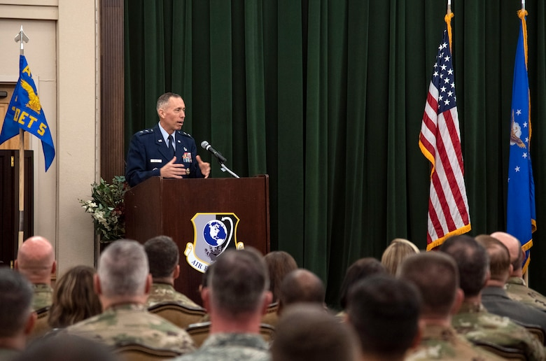 Maj. Gen. Tom Wilcox, commander of the Air Force Installation and Mission Support Center, addresses the audience after taking command July 25 in a ceremony at the Gateway Club on Joint Base San Antonio-Lackland. (U.S. Air Force photo by Johnny Saldivar)