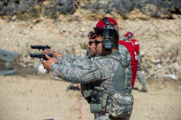Members of the 124th Security Forces Squadron, Idaho Air National Guard and the 173rd SFS, Oregon Air National Guard, participated in a brand new combat arms training course June 19, 2019, Gowen Field off-base range, Boise, Idaho. The training was part of a biennial joint SF field training exercise with the IDANG and ORANG. (U.S. Air National Guard photo by Ryan White)
