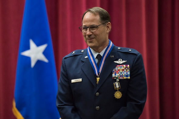 After nearly 35 years of service, Brig. Gen. Michael A. Nolan, former Assistant Adjutant General-Air, Idaho Air National Guard, retired at a ceremony at Gowen Field on July 17. Nolan was previously the commander of the 124th Fighter Wing at Gowen Field and was a pilot, flying missions with the F-4E and F-4G Phantom II aircraft and the A-10 Thunderbolt II aircraft. (U.S. Air National Guard photo by Master Sgt. Becky Vanshur)