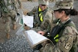 5th Regiment, Advanced Camp Cadets discuss the  Land Navigation Training before searching for points at Fort Knox, Kentucky, June 17, 2019. | Photo by Dustin Massengill