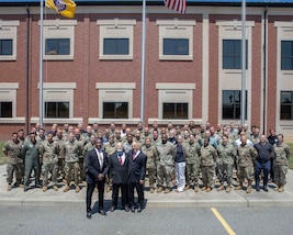 Students from the Department of Defense (DoD) Defense Support of Civil Support Authorities (DSCA) II course gather for a group photo outside of the Joint Task Force Civil Support (JTF-CS) headquarters. The course was held July 16-19 and educated 62 members of the United States military and other federal agencies in planning, coordinating, executing and supporting DSCA operations.  The course is administered in three distinct phases: Phase I is an 8-hour distance learning preparatory course, Phase II is a 3.5 day resident course, and Phase III is continuing education through alumni updates. (Official DoD photo by Mass Communication Specialist 3rd Class Michael Redd/released)