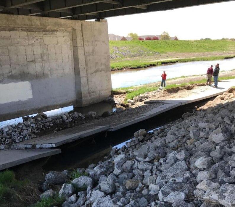 Large scour hole underneath the East Benjamin Avenue Bridge in Norfolk, Neb. Photo taken May 10, 2019.