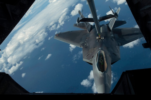 A U.S. Air Force F-22 Raptor is refueled July 14, over the Pacific Ocean near the coast of Brisbane, Australia, in support of Exercise Talisman Sabre 19.