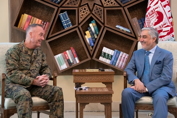 Marine Corps Gen. Joe Dunford, chairman of the Joint Chiefs of Staff, and United Kingdom Army Gen. Sir Nicholas Carter, UK chief of defense staff, meet with Afghan Chief Executive Abdullah Abdullah at the Sepidar Palace in Kabul, Afghanistan, July 25, 2019.