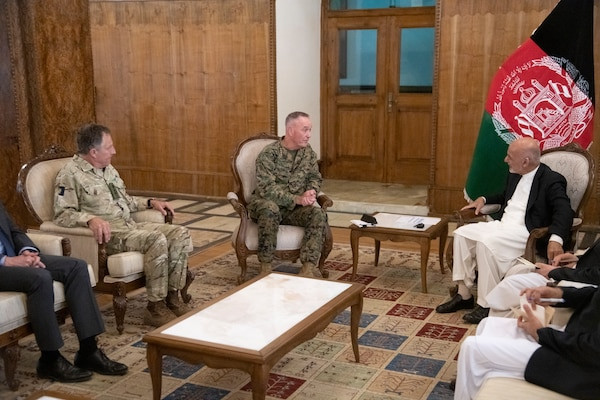 Marine Corps Gen. Joe Dunford, chairman of the Joint Chiefs of Staff, and United Kingdom Army Gen. Sir Nicholas Carter, UK chief of defense staff, meet with Afghan President Ashraf Ghani at the Presidential Palace in Kabul, Afghanistan, July 25, 2019.
