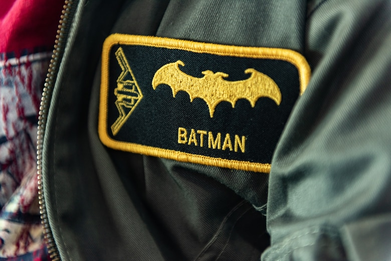 "A patch is stitched with the name and call sign of Emil ""Batman"" Conley from Lee Summit, Missouri during the Pilot for a Day tour, on July 19, 2019, at Whiteman Air Force Base, Missouri. Emil received his call sign ""Batman"" from the 393rd Bomb Squadron commander during a pool party that kicked off their tour. Emil has medulloblastoma, which is the most common malignant brain tumor for children, and accounts for about 20 percent of all childhood brain tumors. Whiteman AFB collaborates with St. Jude Children's Research Hospital to coordinate these tours. (U.S. Air Force photo by Senior Airman Thomas Barley)"