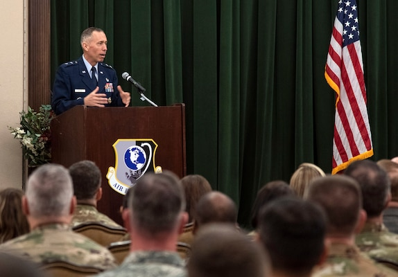 Maj. Gen. Tom Wilcox, commander of the Air Force Installation and Mission Support Center, addresses the audience after taking command July 25 in a ceremony at the Gateway Club on Joint Base San Antonio-Lackland.
