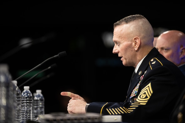 Army Command Sgt. Maj. John Troxell, the Senior Enlisted Advisor to the Chairman of the Joint Chiefs, and the service senior enlisted advisors brief the media in the Pentagon Press Briefing Room as part of the Defense Senior Enlisted Leader Council (DSELC) Symposium in Washington, D.C., July 24, 2019. The DSELC brings together Service Senior Enlisted Advisors, Combatant Command and select Sub-Unified Command Senior Enlisted Leaders to meet and address enlisted issues impacting the Joint Force.