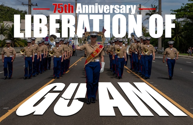 III Marine Expeditionary Force Band demonstrates its pride during the 75th Liberation Day Parade, July 21, 2019, in Guam. The III Marine Expeditionary Force and the 3rd Marine Division annually participate in the parade. (U.S. Marine Corps graphic by Lance Cpl. Kolby Leger)