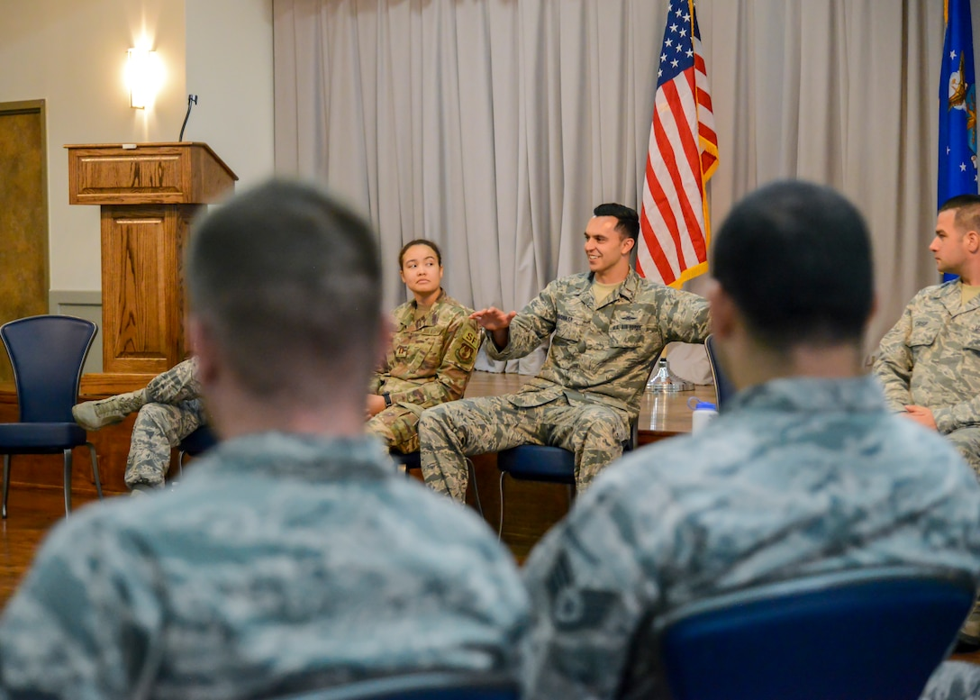 2nd Lt. Cody Bronkar, 412th Communications Squadron, participates in a discussion with a group of technical sergeants during a two-day professional development seminar at Edwards Air Force Base, Calif. July 18. (U.S. Air Force photo by Giancarlo Casem)