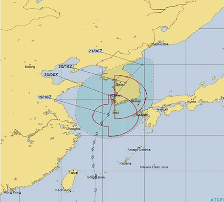 Tropical Storm Danas advances towards the western North Pacific during typhoon season, July 19, 2019. This region annually experiences tropical cyclone effects between June and October. For Osan Air Base and the surrounding Korean Peninsula, the 51st Civil Engineer Squadron's Emergency Management flight provides response and recovery crisis management and the 51st Operations Support Squadron's weather flight forecasts climate to keep the installation's personnel and assets equipped to survive a storm and other natural disasters. (Courtesy photo)