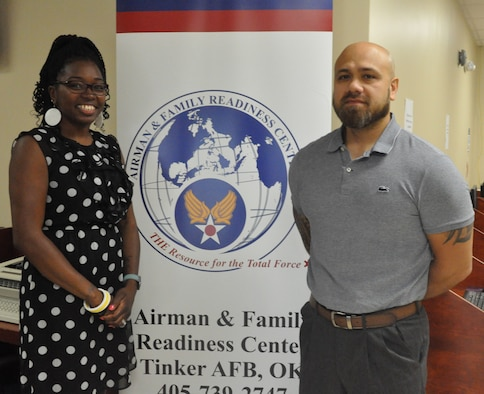 Community Readiness Specialist Nakisha Hall and Community Readiness Consultant Robert Duwel work with the Airman & Family Readiness Center to meet the needs of Tinker personnel and their families. You can reach the A&FRC at 739-2747. (U.S. Air Force photo/Megan Prather)