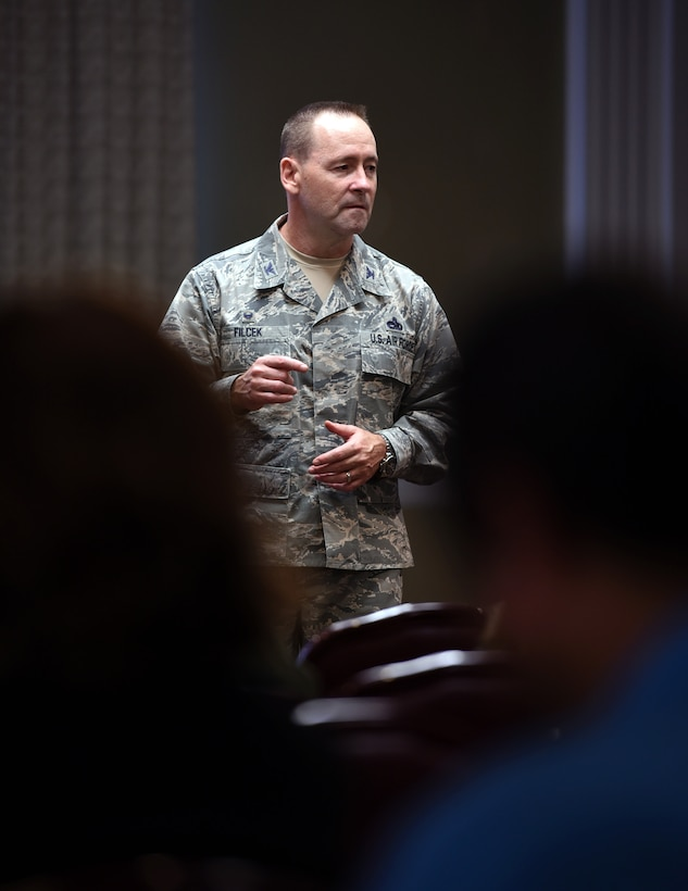 Base residents gathered at the Tinker Event Center on July 23 to hear from 72nd Air Base Wing Commander Col. Paul Filcek and Balfour Beatty Communities management about the improvements being made to base housing