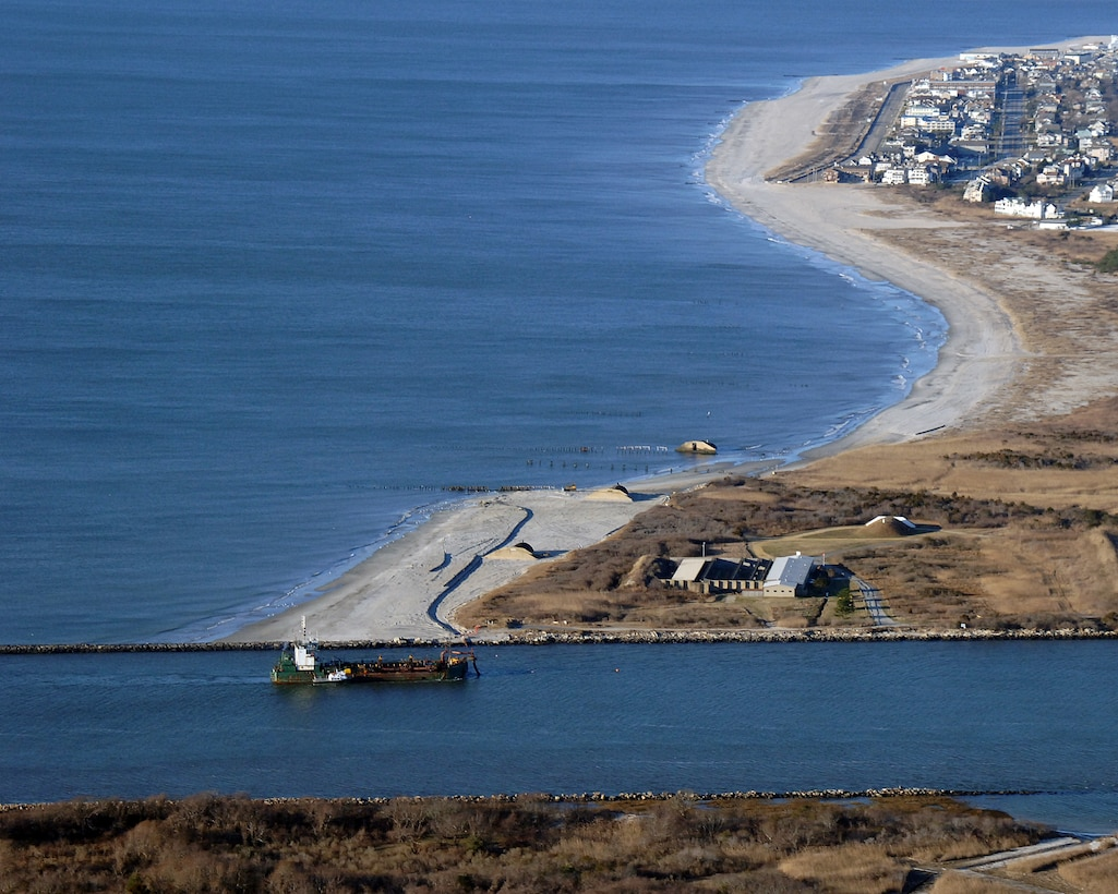 In 2007, USACE completed periodic nourishment of the Cape May Inlet to Lower Township project. The hopper dredge Atchafalaya, owned by Cashman Dredging, can be seen in Cold Spring Inlet.