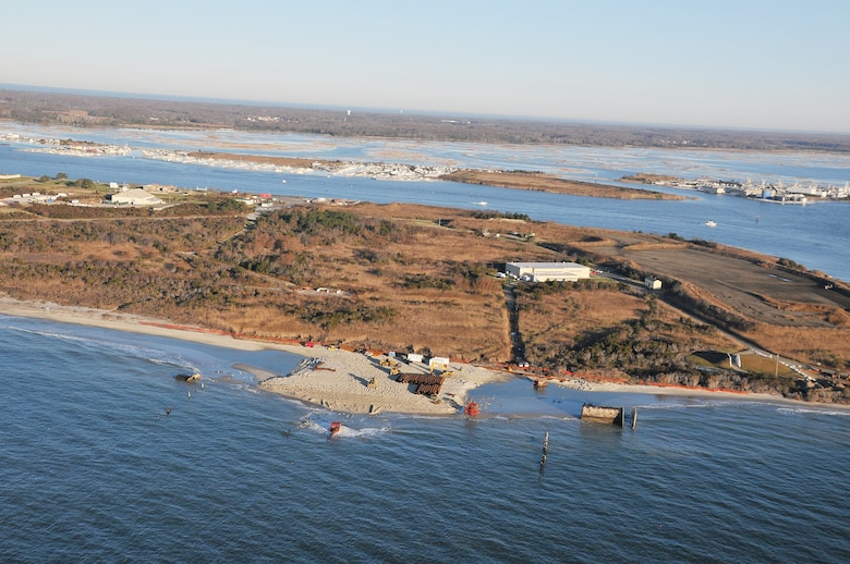 In 2011-2012, USACE completed a periodic nourishment of the Cape May Inlet to Lower Township project (Photo from November of 2011).