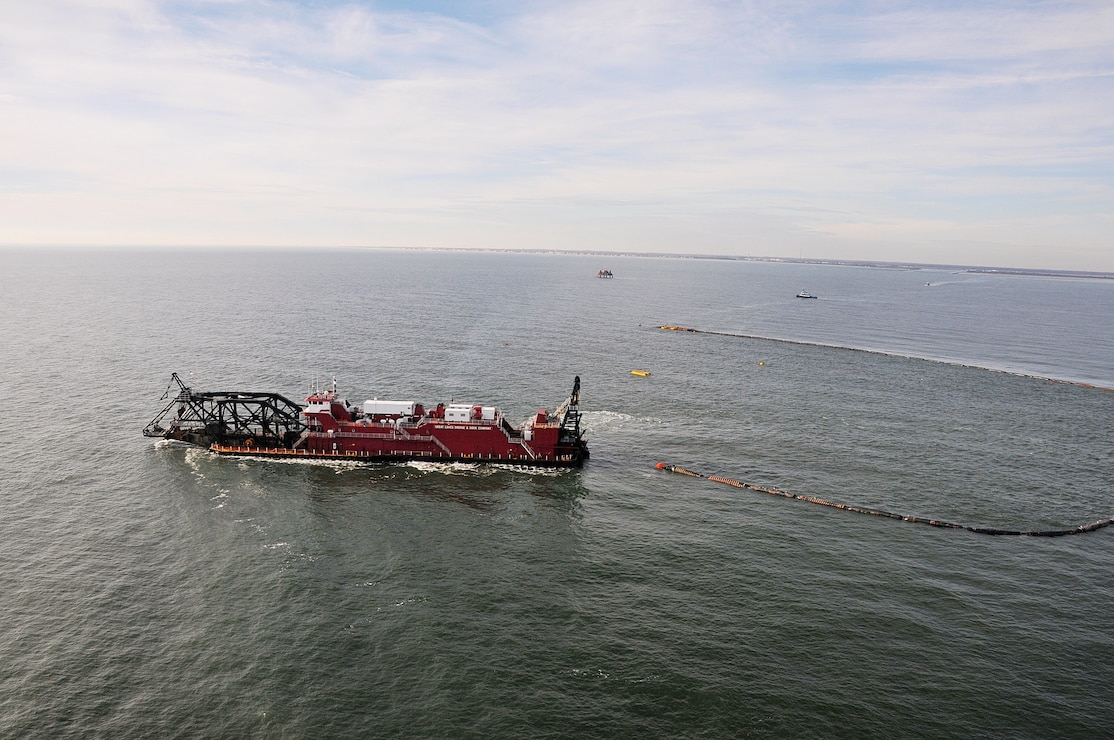 The hydraulic cutterhead dredge Texas, owned and operated by Great Lakes Dredge & Dock Company, dredges off of Cape May as part of a periodic nourishment of the Cape May to Lower Township project in January of 2012.