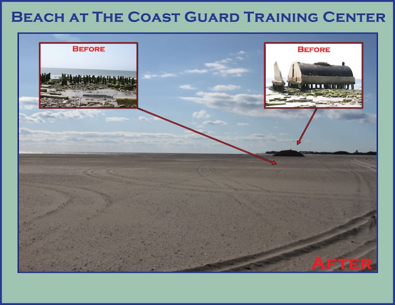 Before and After U.S. Coast Guard Property 2011 and 2012 - USACE completed a periodic nourishment of the Cape May to Lower Township project in 2011-2012. The graphic shows the severely eroded condition prior to nourishment along a section of beach on U.S. Coast Guard Training Center property.