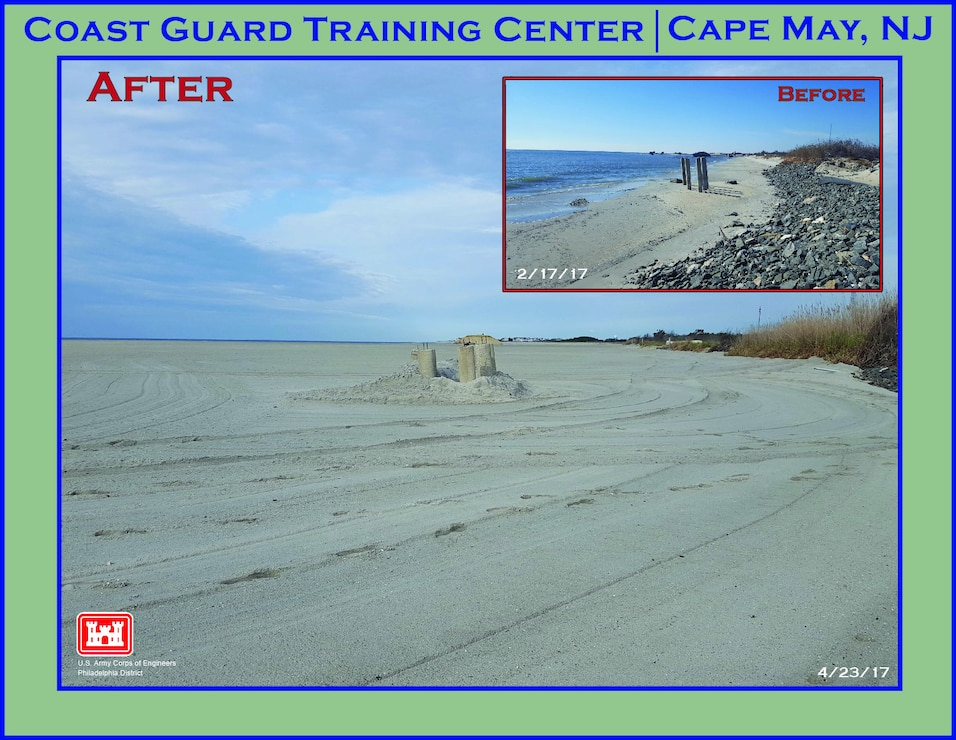 In 2017, USACE completed periodic nourishment of the Cape May to Lower Township project. Before and after photos of an area on U.S. Coast Guard property shows significant erosion prior to sand placement.