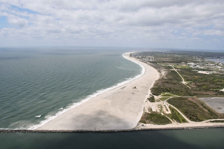 In 2017, USACE completed periodic nourishment of the Cape May Inlet to Lower Township project (Photo from May of 2017).