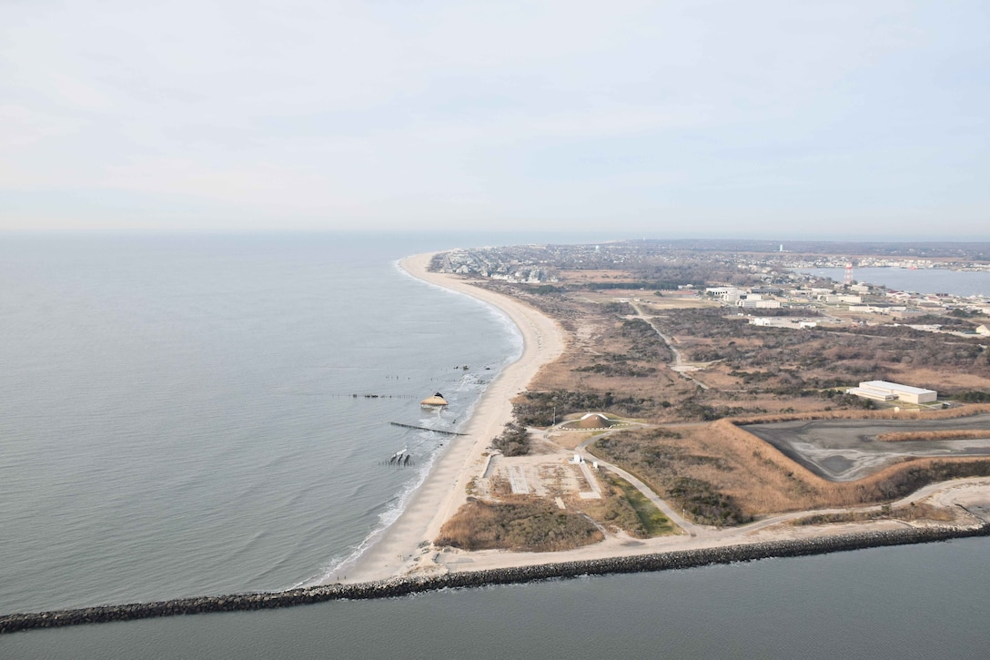 In 2017, USACE completed periodic nourishment of the Cape May to Lower Township project (During Construction Photo from January of 2017).