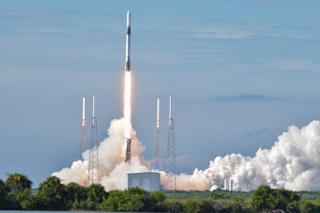 A SpaceX Falcon 9 CRS-18 rocket launched at Cape Canaveral Air Force Station, Florida, July 25, 2019. The CRS-18 is the latest mission in the Commercial Resupply Services program which transports thousands of pounds of cargo and supplies to resupply the International Space Station. (U.S. Air Force photo by Airman 1st Class Dalton Williams)