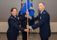 U.S. Air Force Col. Melissa Stone, commander 363d Intelligence, Surveillance and Reconnaissance Wing, transfers command of the 365th ISR Group to U.S. Air Force Col. Jason Arnold.
