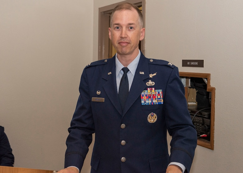 U.S. Air Force Col. Jason Arnold, commander 365th Intelligence, Surveillance and Reconnaissance Group, prepares to address Airmen during the 365th Intelligence, Surveillance and Reconnaissance Group Change of Command.