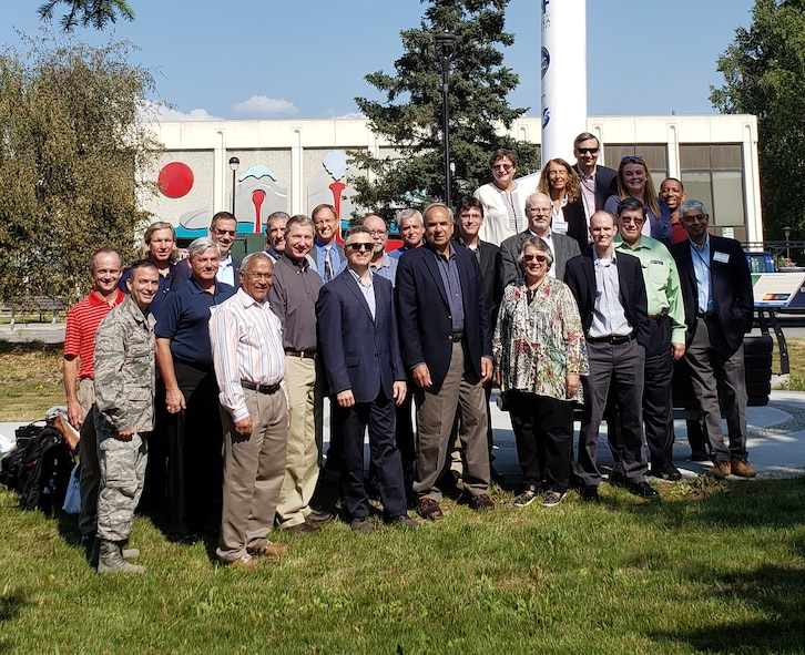Dr. Richard Joseph, Air Force chief scientist, stands with other Air Force major command chief scientists during a visit to University of Alaska-Fairbanks Geophysical Institute, July 22, 2019. The group visited scientific facilities and military installations across Alaska during a week-long visit highlighting the strategic importance of the nation's largest, northernmost state.  (U.S. Air Force photo by Lt. Col. Peter Shinn)