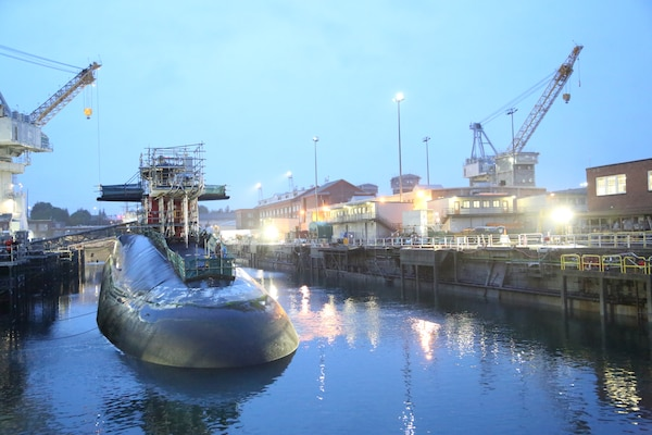USS Michigan (SSGN 727) docks at Puget Sound Naval Shipyard & Intermediate Maintenance Facility July 10 to begin a 17-month Extended Refit Period.