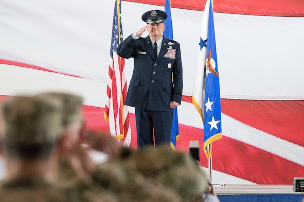 U.S. Air Force Lt. Gen. Brad Webb, commander of Air Education and Training Command, renders his first salute to the men and women of the First Command during AETC's change of command ceremony at Joint Base San Antonio-Randolph, Texas, July 26, 2019. AETC operates more than 1,400 trainer, fighter and mobility aircraft, 23 wings, 10 bases and five geographically separated groups. (U.S. Air Force photo by Sean M. Worrell)