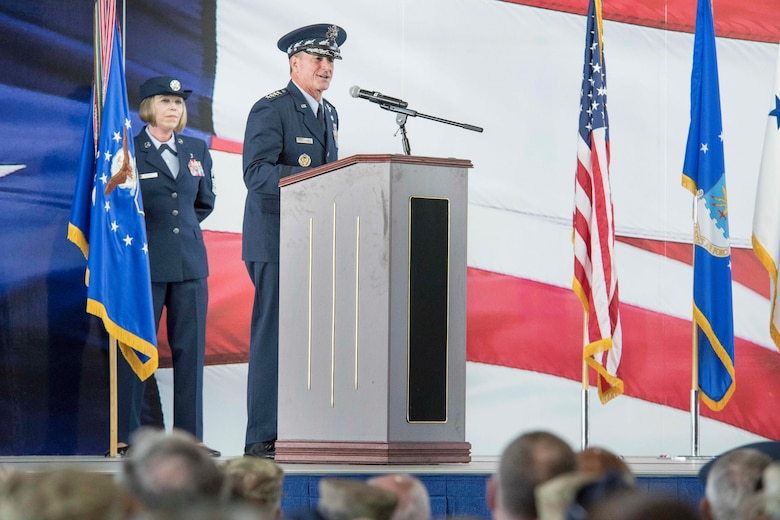 U.S. Air Force Chief of Staff Gen. David L. Goldfein, speaks during Air Education and Training Command's change of command ceremony at Joint Base San Antonio-Randolph, Texas, July 26, 2019. Goldfein presided over the ceremony, at which time U.S. Air Force Lt. Gen. Steve Kwast relinquished command to U.S. Air Force Lt. Gen. Brad Webb. (U.S. Air Force photo by Sean M. Worrell)