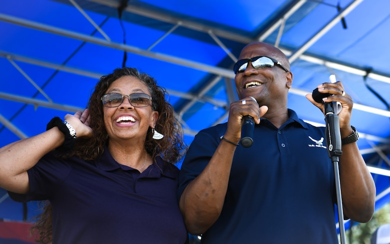 Col. Devin Pepper, 460th Space Wing commander, and his wife, Alicia, host Fun Fest, July 25, 2019 on Buckley Air Force Base, Colo. Fun Fest is an annual event held at Buckley AFB that highlights spending time with family and friends with free events and entertainment. (U.S. Air Force photo by Airman 1st Class Michael D. Mathews)