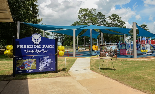 Freedom Park opened to the Columbus community July 19, 2019, on Columbus Air Force Base, Miss. The old Freedom Park was a wooden structure built in 1996 and over the years the playground started to deteriorate in several areas causing hazards for children. (U.S. Air Force photo by Airman Davis Donaldson)