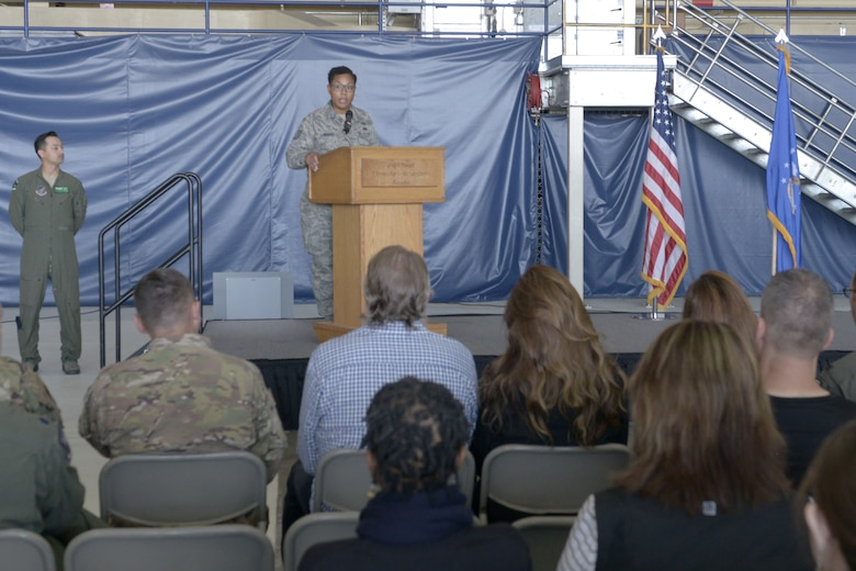 U.S. Air Force Tech. Sgt. Samoana Ingram, 962nd Airborne Air Control Squadron group training manager, gives the history of the 3rd Wing during the opening ceremony for the 3rd Wing's 100th anniversary celebration on Joint Base Elmendorf-Richardson, Alaska, July 25, 2019