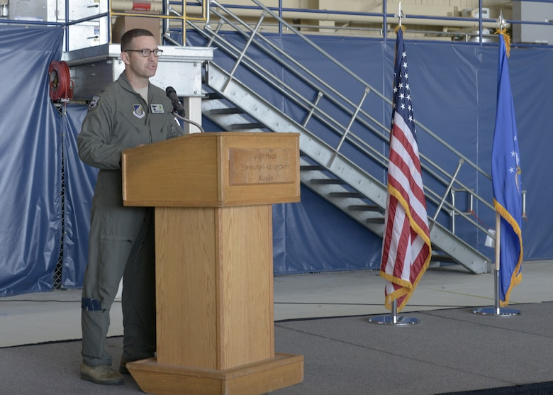 U.S. Air Force Col. Robert Davis, 3rd Wing commander, speaks during the 3rd Wing's 100th anniversary celebration on Joint Base Elmendorf-Richardson, Alaska, July 25, 2019.