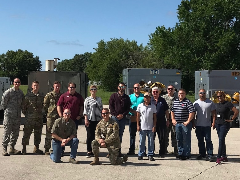 Airmen from the 509th Maintenance Squadron and other Air Force partners from across the country pose for a photo on July 18, 2019. They all served as part of a multi-organizational team that spent a week testing potential HVAC replacement units at Whiteman Air Force Base, Missouri. (Courtesy photo)