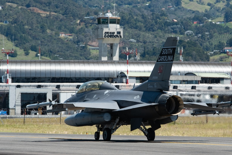 An F-16 Fighting Falcon from the 169th Fighter Wing, South Carolina Air National Guard, taxis toward the runway at the José María Córdova International Airport, Rionegro, Colombia, July 16, 2019.