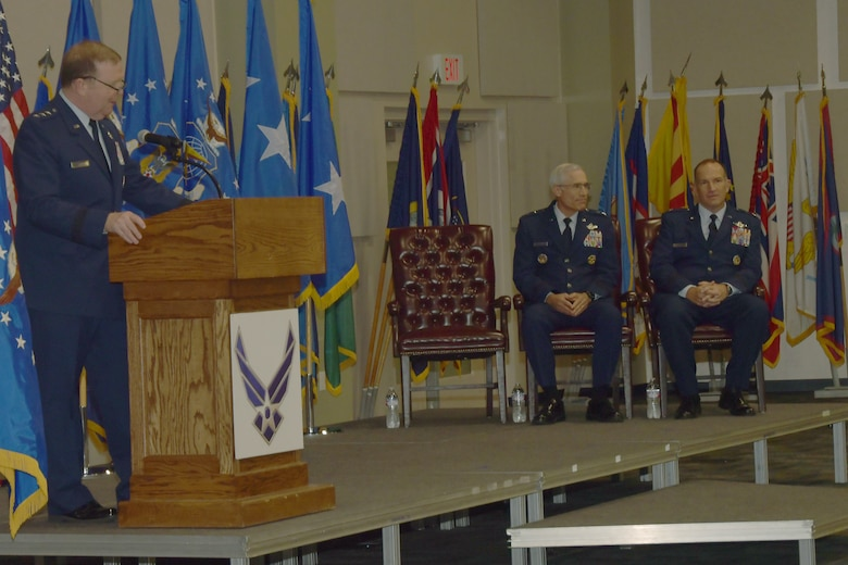 Lt. Gen. Richard W. Scobee, Chief of Air Force Reserve and Air Force Reserve commander, makes remarks, July 26, 2019, at Dobbins Air Reserve Base, Ga.