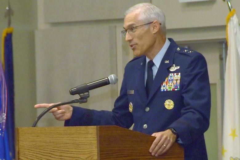 Maj. Gen. Craig L. La Fave, outgoing commander of the 22nd Air Force, gives remarks, July 26, 2019, at Dobbins Air Reserve Base, Ga.