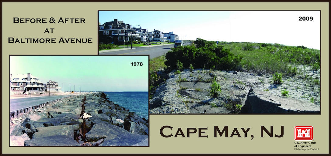 Before & After at Baltimore Avenue - USACE completed initial construction of an elevated 25 to 180-foot wide berm at Cape May in 1991. Cape May City beaches were in a severely eroded state prior to the initial construction and subsequent periodic nourishments.