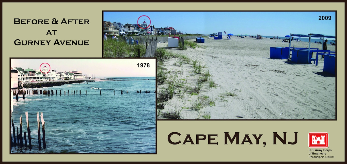 Gurney Avenue Before and After - initial construction of an elevated 25 to 180-foot wide berm was completed in 1991 as part of the Cape May to Lower Township project. Cape May City beaches were often in a severely eroded state prior to the initial construction and periodic nourishments in subsequent years.